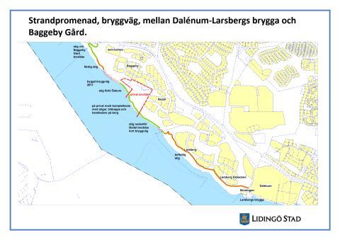 Karta från Baggeby gård till Larsbergs brygga