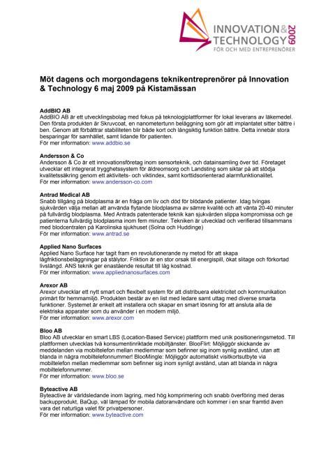 Utställande bolag Innovation & Technology 2009