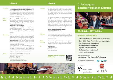 """Flyer 2. Fachtagung """"Barrierefrei planen & bauen"""""""