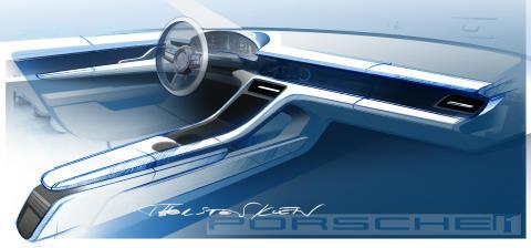 Designskiss för interiören i den helelektriska sportbilen Porsche Taycan.