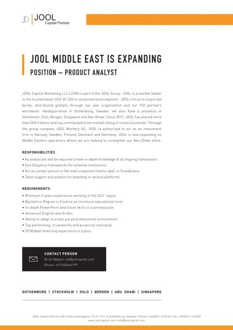 JOOL Middle East is expanding - Position Product Analyst