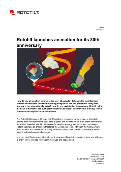 Rototilt launches animation for its 30th anniversary