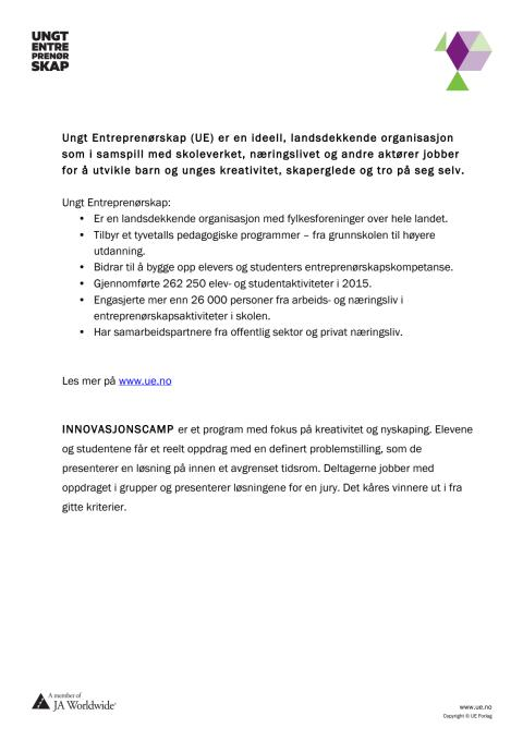 Faktaboks Ungt Entreprenørskap Norge