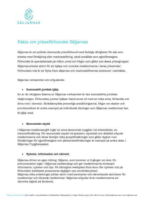 Fakta om yrkesförbundet Säljarnas