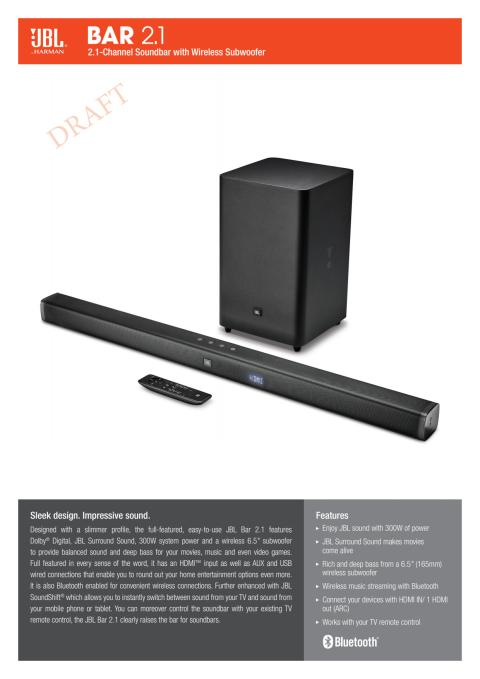 JBL BAR 2.1 - Spec sheet