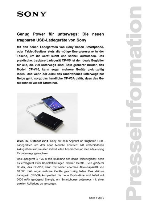 """Pressemitteilung """"Genug Power für unterwegs"""": Die neuen tragbaren USB-Ladegeräte von Sony"""