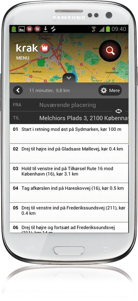 Krak til Android - ruteplan