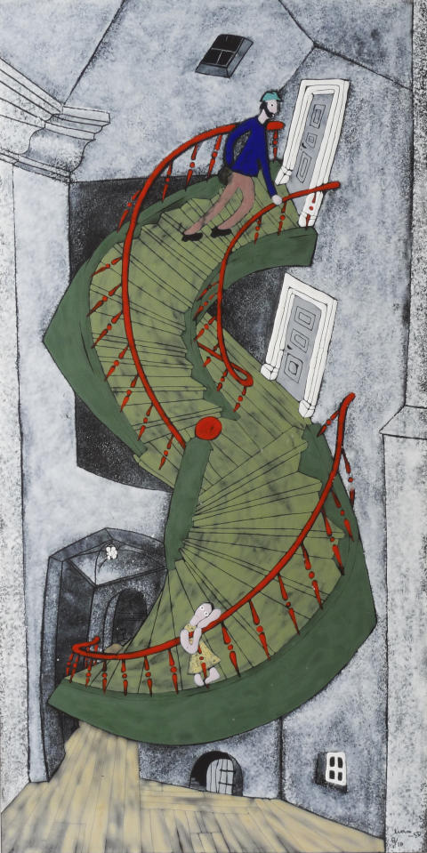 "Egon Möller Nielsen: ""Trappan"". 1950. Emalj på plåt."