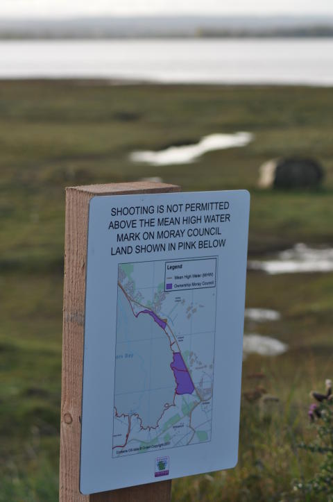 Signs restricting shooting on council land go up at Findhorn Bay