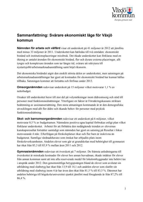 Fördjupad information: Svårare ekonomiskt läge för Växjö kommun