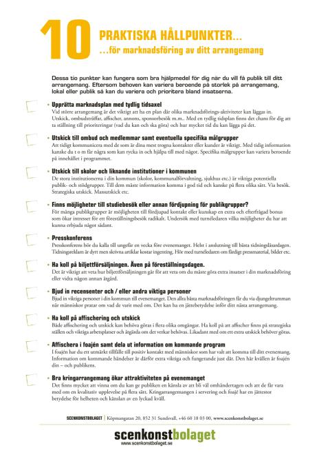 Arrangör - 10 praktiska hållpunkter för marknadsföring av ditt arrangemang