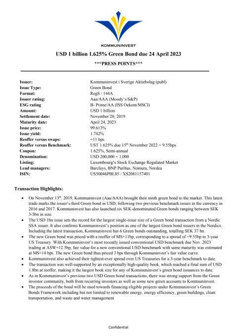 Kommuninvest Green Bond Nov 2019 - Press Points