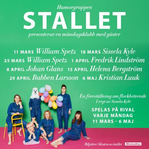 Helena Bergström ansluter till Humorgruppen Stallets måndagsklubb i vår - medverkar 15 april!