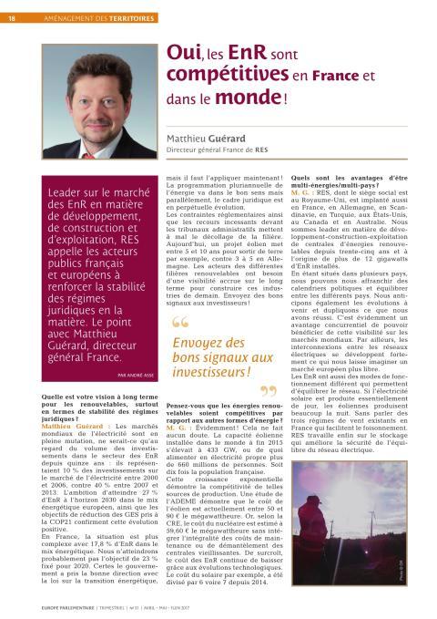 """""""Oui, les Enr sont compétitives en France et dans le monde !"""" - Interview de Matthieu Guérard, Directeur Général France"""