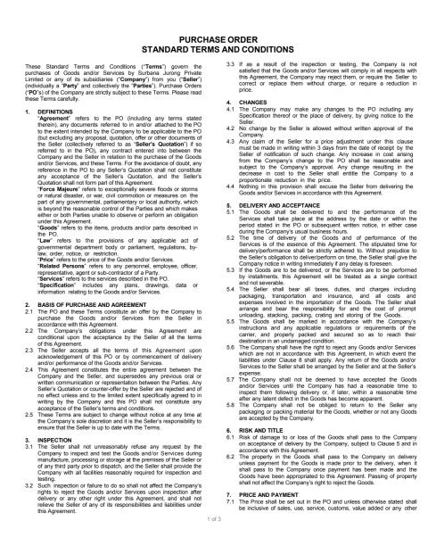 Surbana Jurong Purchase Order Terms & Conditions