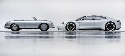 "The past and the future of Porsche: 356 ""No.1"" Roadster and Mission E."
