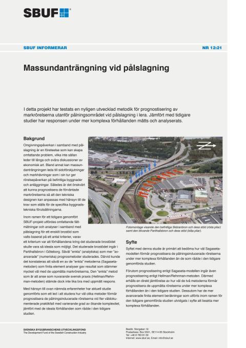 SBUF Informerar, nr. 12-21 Massundanträngning vid pålslagning