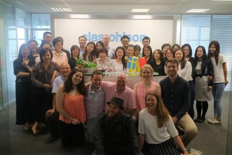 Clas Ohlsonin työntekijät opintomatkalla Kiinassa