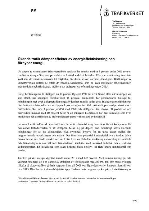 Vägtrafikens utsläpp, PM av Trafikverket, 160223 (1,1 mB, pdf-fil)
