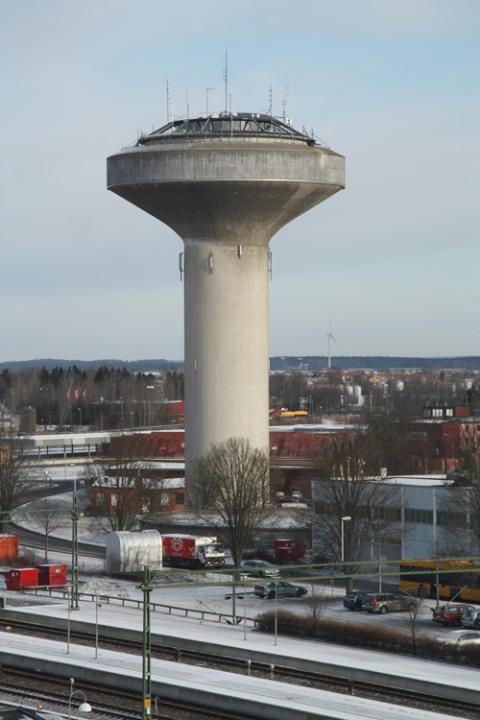 Konstnärlig gestaltning av vattentornet i Kristianstad. Etapp 1 i en 2-stegstävling är nu avgjord.