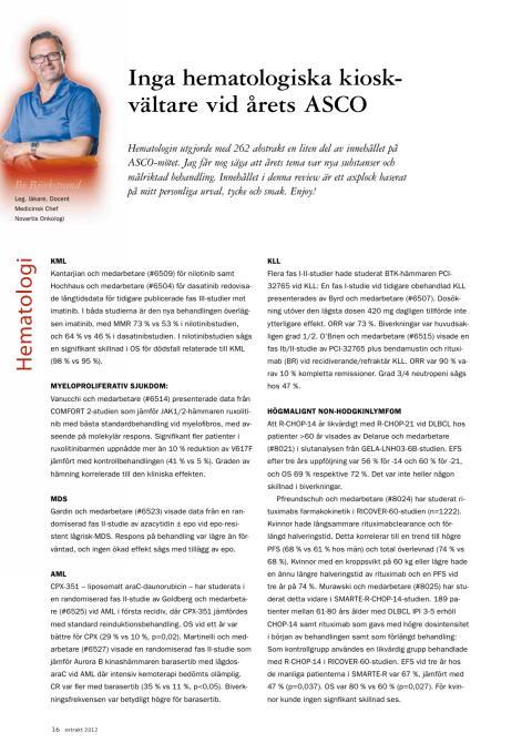 Docent Bo Björkstrand: Blodcancer – nya substanser och målriktad behandling, ASCO 2012