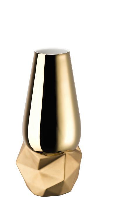 R_Geode_ Vase 27 cm Gold titanisiert