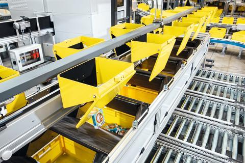 Gondolerne transporterer produkterne til sorteringslokationerne, hvorunder ordrebeholderne står