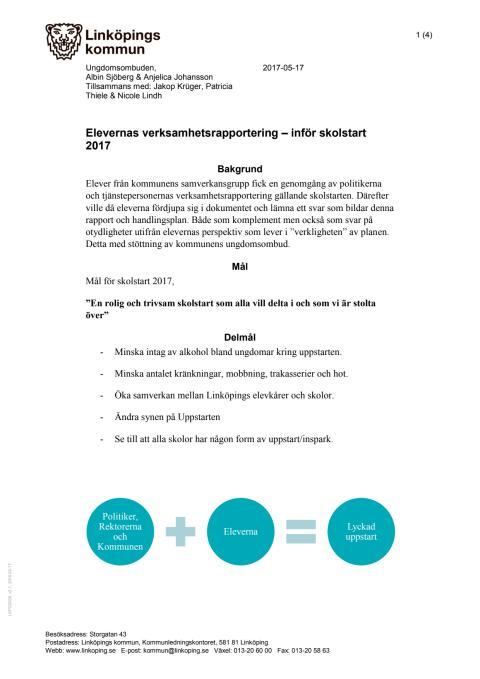 Elevernas handlingsplan inför skolstarten 2017