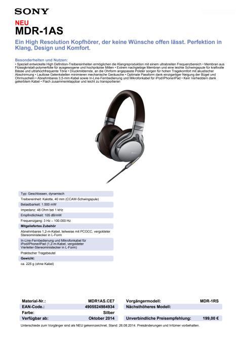 Datenblatt MDR-1AS von Sony