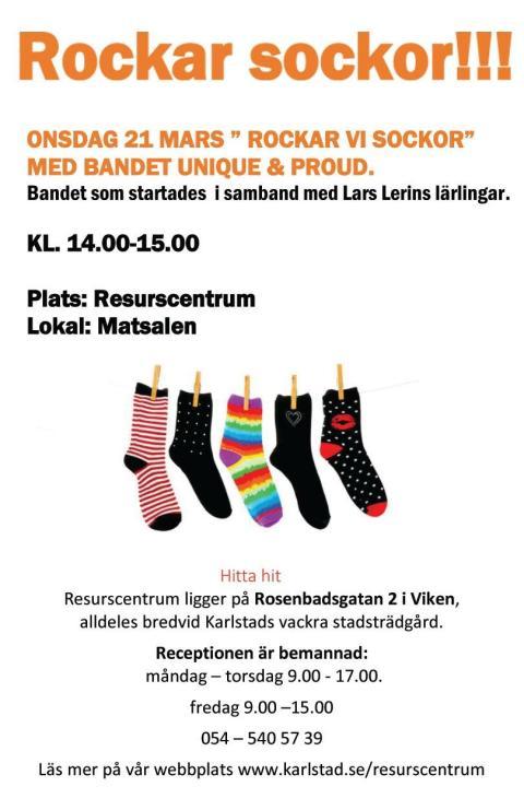 Följ med och Rocka sockorna i Karlstad den 21/3