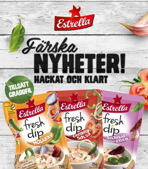 Estrella lanserar Fresh Dip! En helt ny slags dipmix, som istället för torra kryddor är gjord på färska grönsaker!