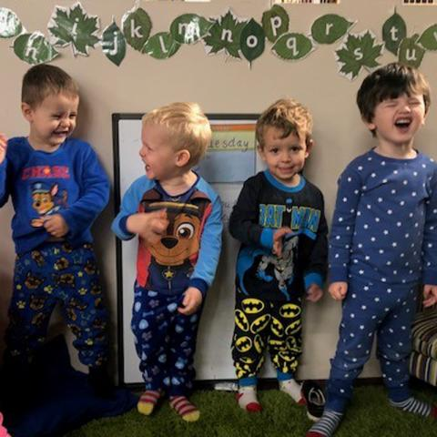 Pumpkin Pie Childcare pop on pyjamas to raise money for seriously ill children