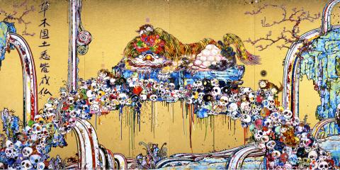 Takashi Murakami, A Picture of the Blessed Lion Who Nestles with the Secrets of Death and Life, 2014