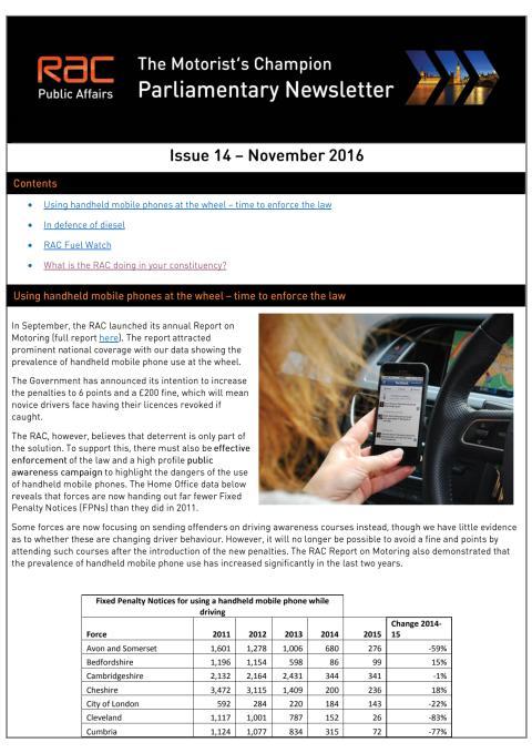 RAC Parliamentary Newsletter #14 - November 2016