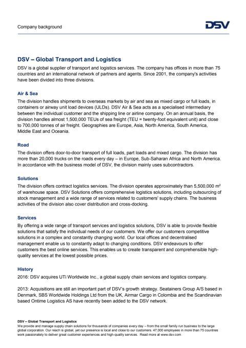 DSV Company background