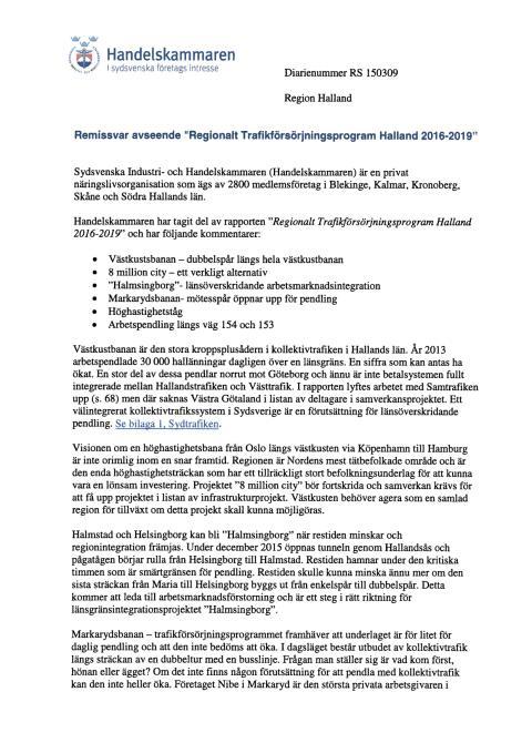 Remissvar Trafikförsörjningsprogram för Halland 2016-2019