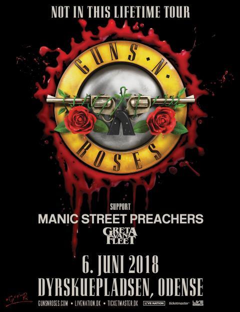 Guns N' Roses har to stærke supportbands med, når de gæster Odense 6. juni
