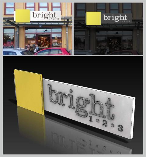 """Lysande fasadskylt med lysande resultat till belysningsaffär Bright 1.2.3. """"Tre steg till bättre ljus"""""""