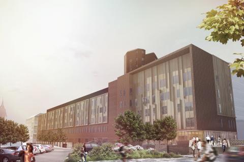 S:t Görans sjukhus, Sankt Göransgatan blick mot öster. Illustration/visionsbild Arkitema Architects.