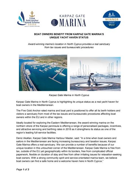 Boat Owners Benefit from Karpaz Gate Marina's  Unique Yacht Haven Status