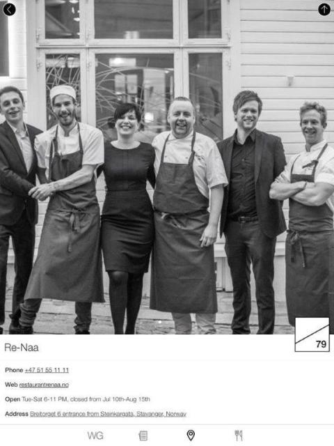 Personal des RE-NAA in Stavanger, in der Mitte Küchenchef Sven Erik Renaa