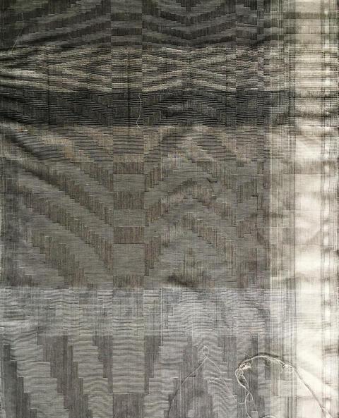 Matilda Dominique: vävnad i ull, lin, bomull, silke, nylon (detalj), Fiberspace Gallery