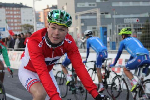 Tobias Foss før start sykkel-VM 2014