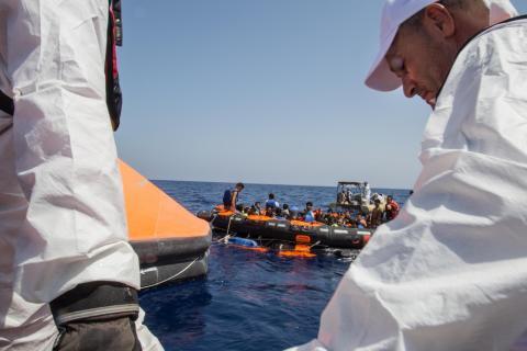 Räddningsinsatsen på Medlehavet efter dagens drukningsolycka.