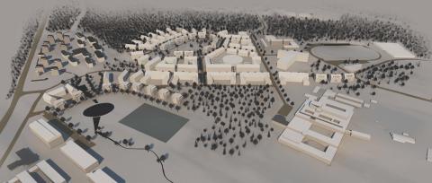 Illustration från planprogram för Lilljansberget. Vy från sydväst.