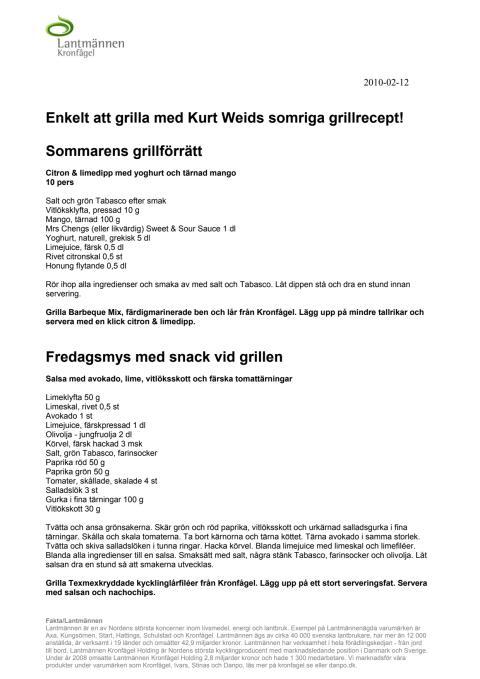 Kronfågel - Grillrecept från Kurt Weid