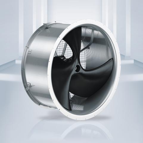 Axialfläkt med 1,5 m diameter för låga tryck och stora luftvolymer