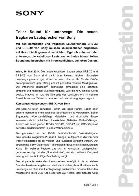 """Pressemitteilung """"Toller Sound für unterwegs: Die neuen tragbaren Lautsprecher von Sony"""""""