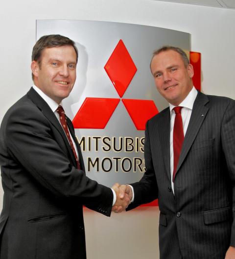Anders Borg vd Gustaf E Bil AB och Thomas Holm vd Mitsubishi Motors