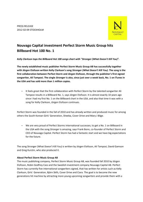 Nouvago Capital investment Perfect Storm Music Group hits